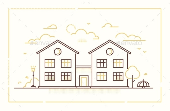 Nice Cottage - Modern Thin Line Design Style - Buildings Objects