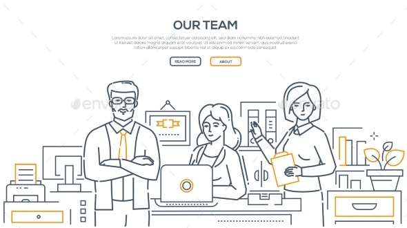 Our Team - Modern Line Design Style Banner - Concepts Business
