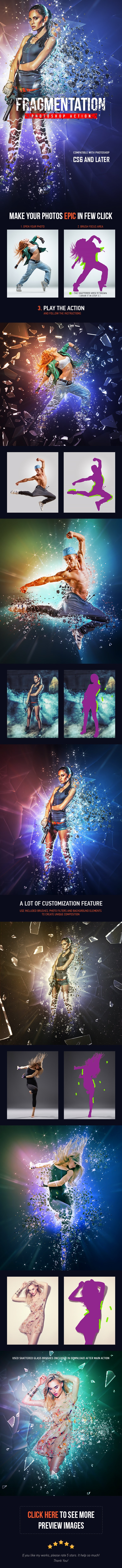Fragmentation - Shattered Glass Photoshop Action - Photo Effects Actions