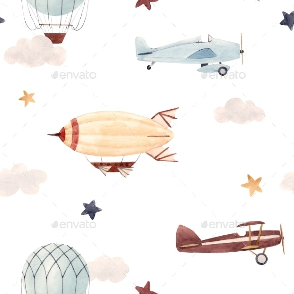 Watercolor Aircraft Baby Pattern - Patterns Backgrounds