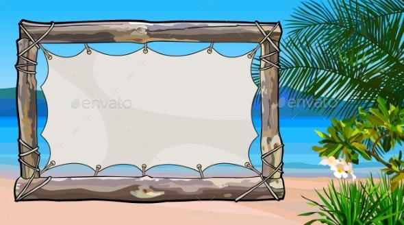 Empty Wooden Signboard on Tropical Sea - Landscapes Nature