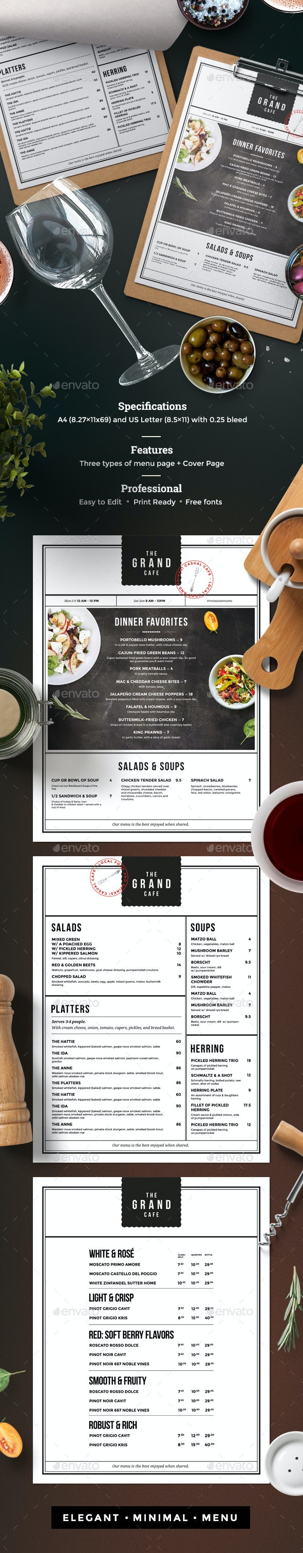 Menu - Food Menus Print Templates
