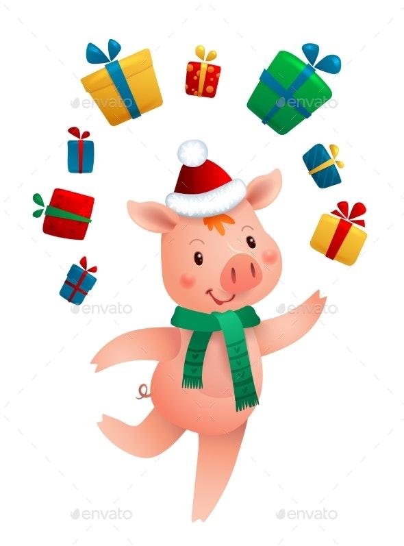 New Year Pig and Gifts - New Year Seasons/Holidays