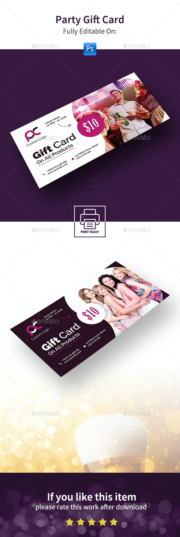 Party Gift Card - Cards & Invites Print Templates