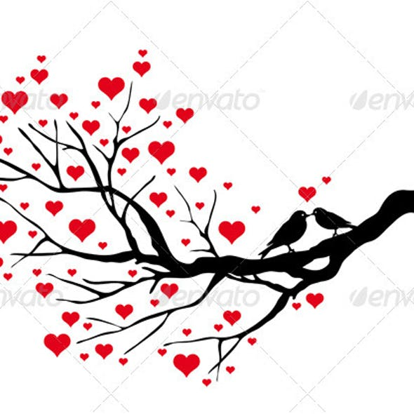 Tree Branch With Birds, Vector