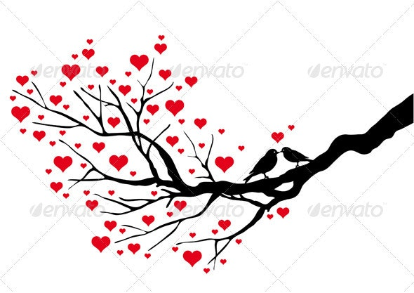 Tree Branch With Birds, Vector - Valentines Seasons/Holidays