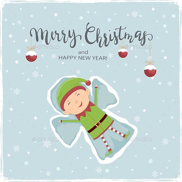 Happy Elf Making Snow Angel - Christmas Seasons/Holidays