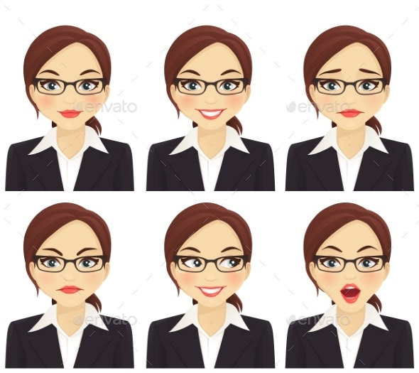 Business Woman Expressions Set - People Characters