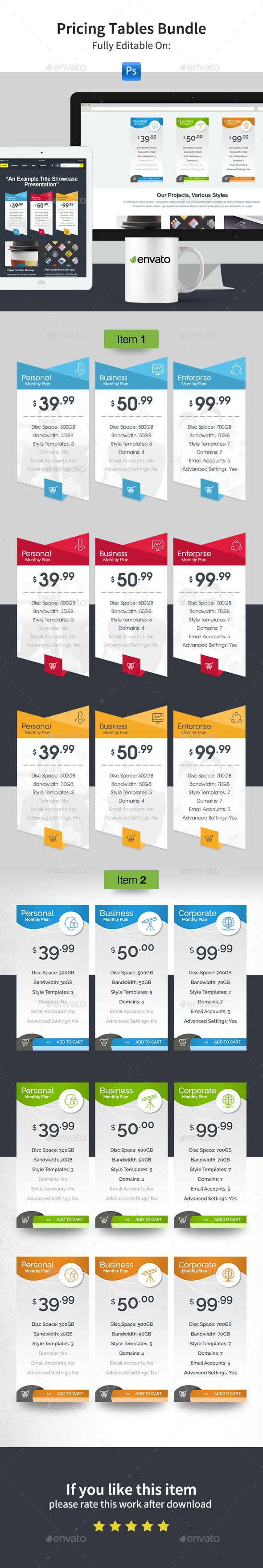 Pricing Tables Bundle - Tables Web Elements