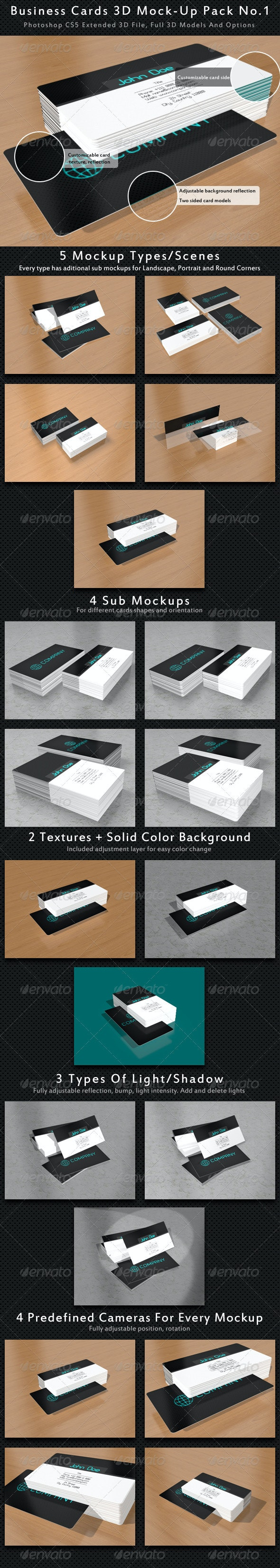 Business Card 3D Mock-Up Pack No.1 - Business Cards Print