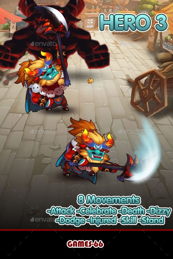 Hero 3 Sprite Set - Spine - Sprites Game Assets