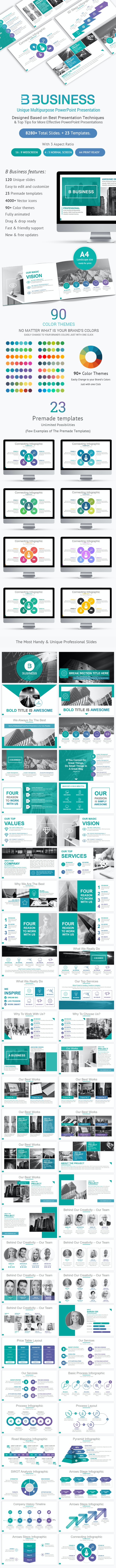 B Business Solutions PowerPoint Template - Business PowerPoint Templates