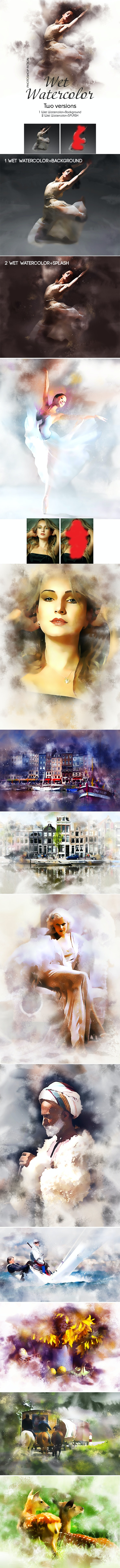 Wet Watercolor Photoshop Action - Photo Effects Actions