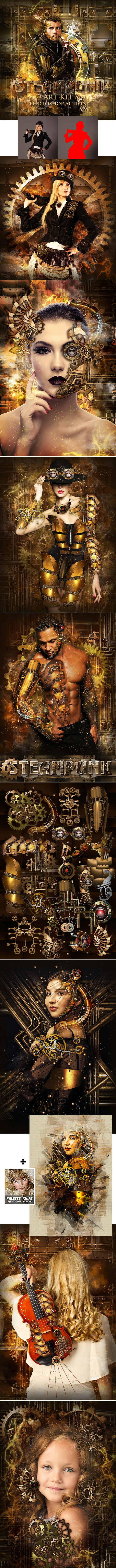 Steampunk Art Kit Photoshop Action - Photo Effects Actions