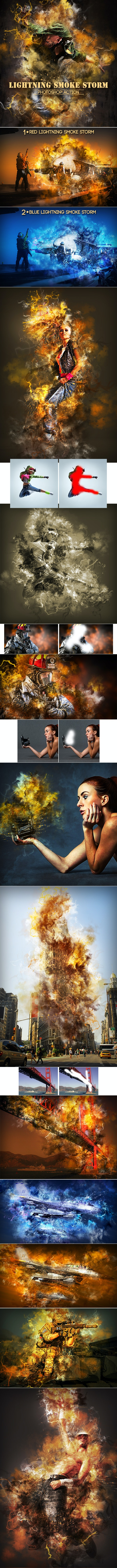 Lightning Smoke Storm Photoshop Action - Photo Effects Actions