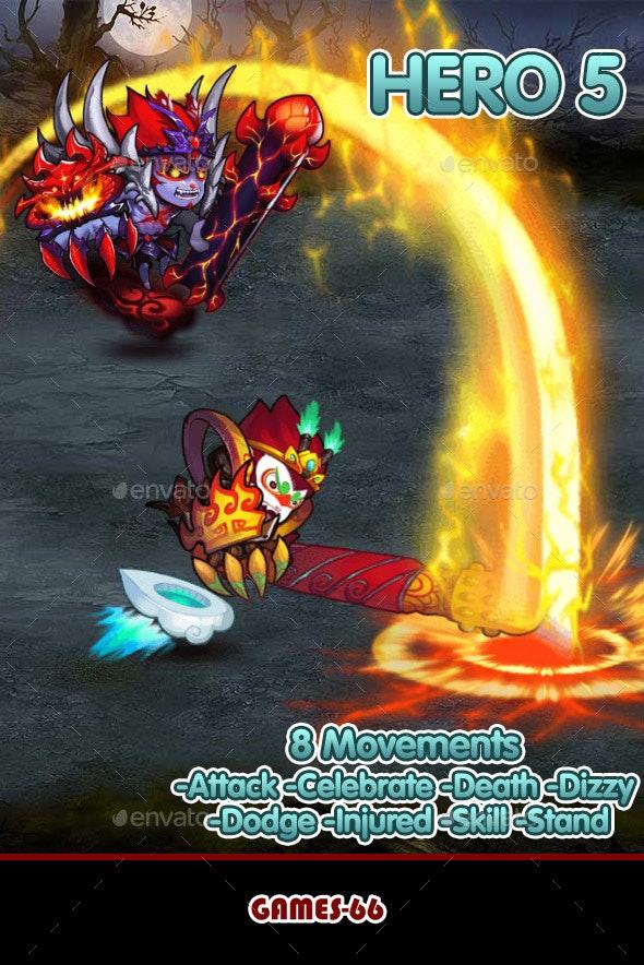 Hero 5 Sprite Set - Spine - Sprites Game Assets