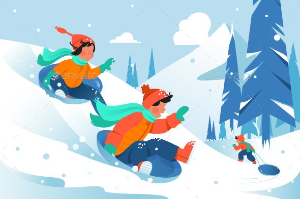 Kids with Ice Floe Ride Down the Hill in Forest - Landscapes Nature