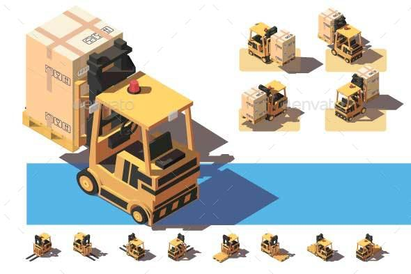 Isometric Forklift with Transportation of a Box - Man-made Objects Objects