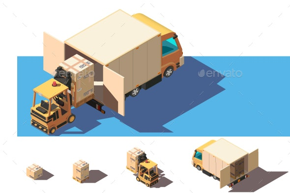 Isometric Shipment Truck with Forklift - Man-made Objects Objects