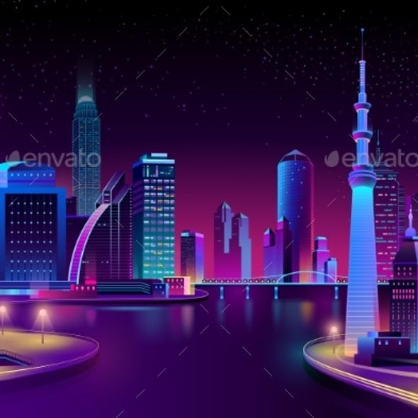 Vector City on River at Night