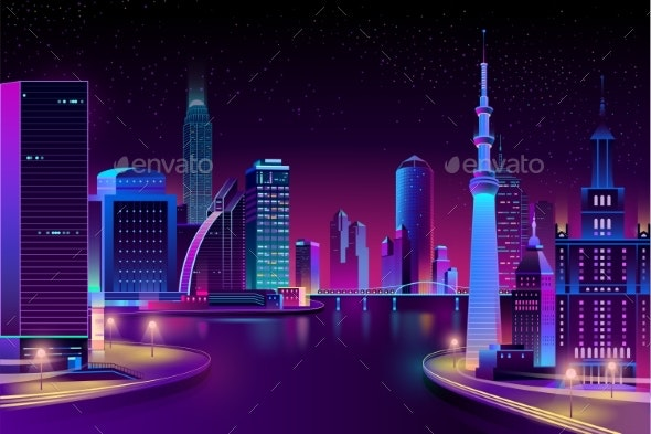 Vector City on River at Night - Buildings Objects