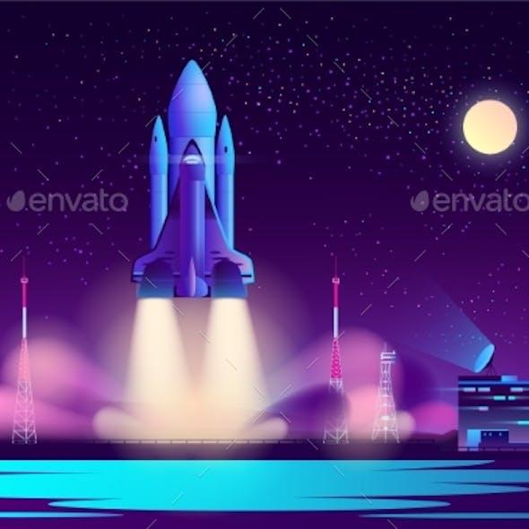 Space Shuttle Night Launching Cartoon Vector