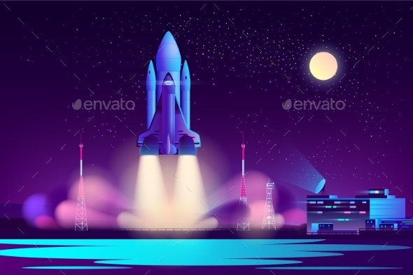 Space Shuttle Night Launching Cartoon Vector - Man-made Objects Objects