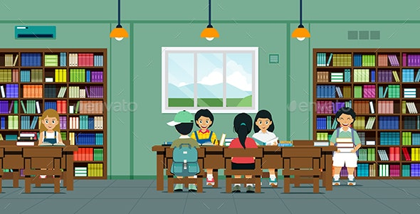 Children in the Library - People Characters