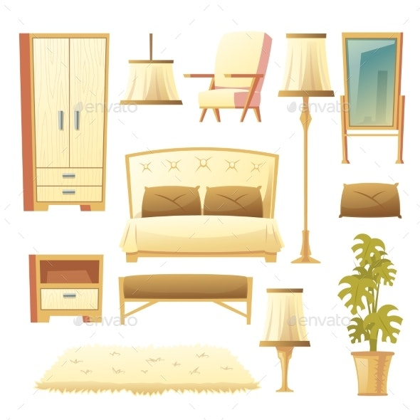Vector Cartoon Bedroom Interior Set - Man-made Objects Objects
