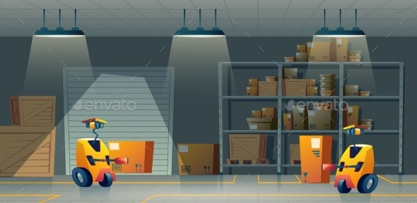 Vector Cartoon Storehouse Storage with Robot - Industries Business