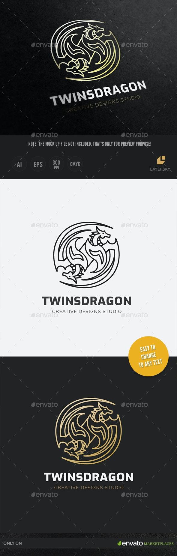 Twins Dragon Logo - Animals Logo Templates