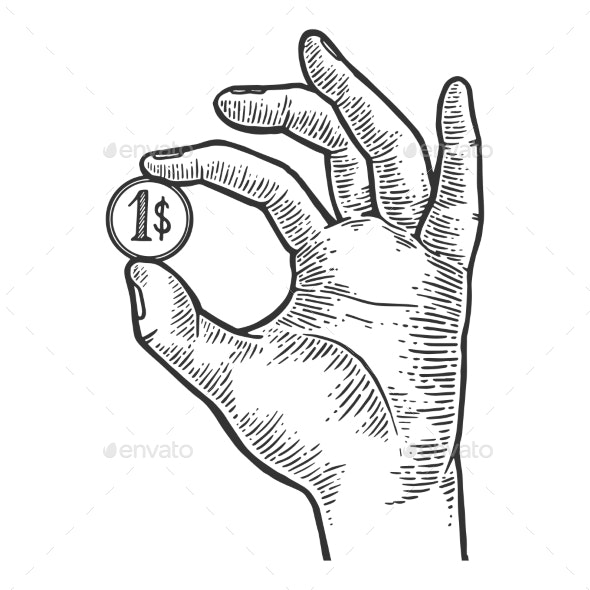 Hand with Coin Dollar Vector Illustration - People Characters