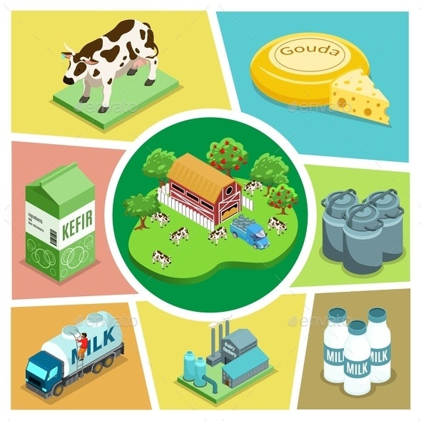 Isometric Farming Elements Composition - Buildings Objects
