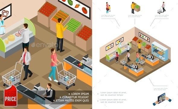 Isometric Grocery Shopping Concept - Buildings Objects