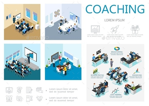 Isometric Coaching Infographic Concept - People Characters