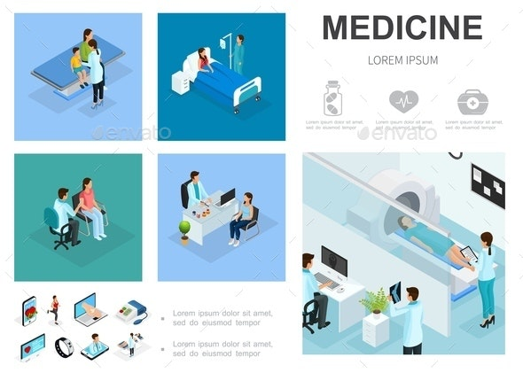 Isometric Medical Care Infographic Template - People Characters