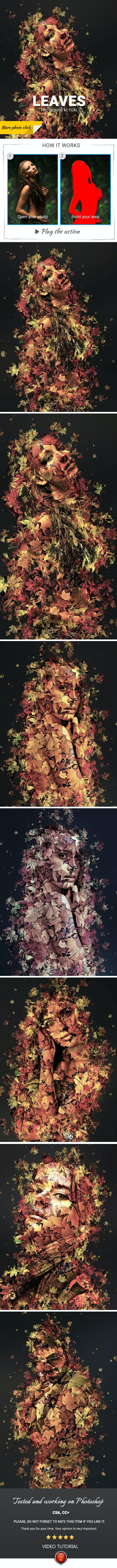 Leaves Photoshop Action - Photo Effects Actions