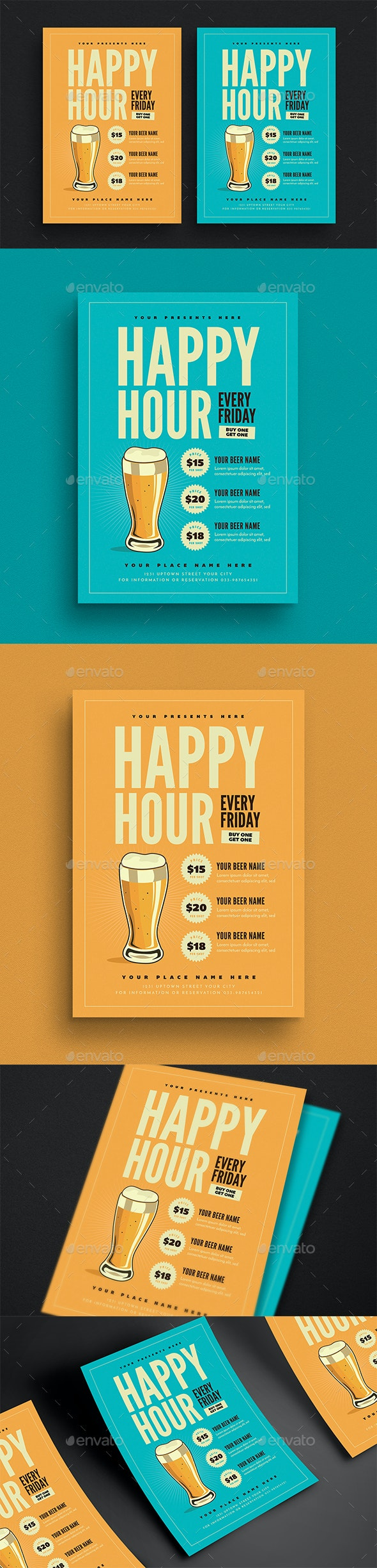Happy Hour Beer Promotion Flyer - Flyers Print Templates