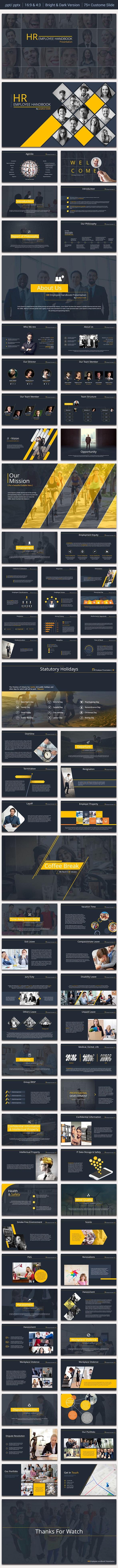 HR Employee Handbook Presentation - Business PowerPoint Templates