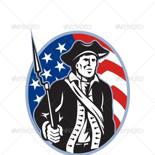 American Patriot Minuteman With Bayonet Rifle