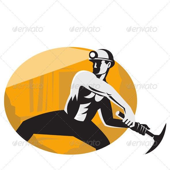 Coal Miner With Pick Ax Striking Retro