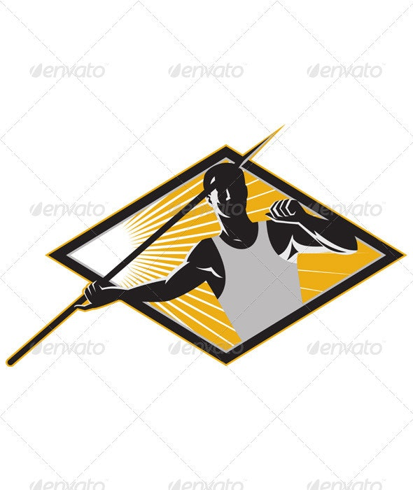 Track and Field Athlete Javelin Throw Retro - Sports/Activity Conceptual