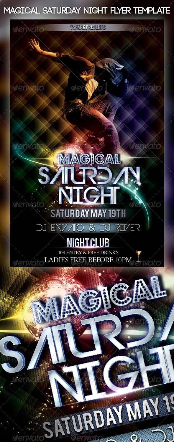 Magical Saturday Night Flyer Template - Flyers Print Templates
