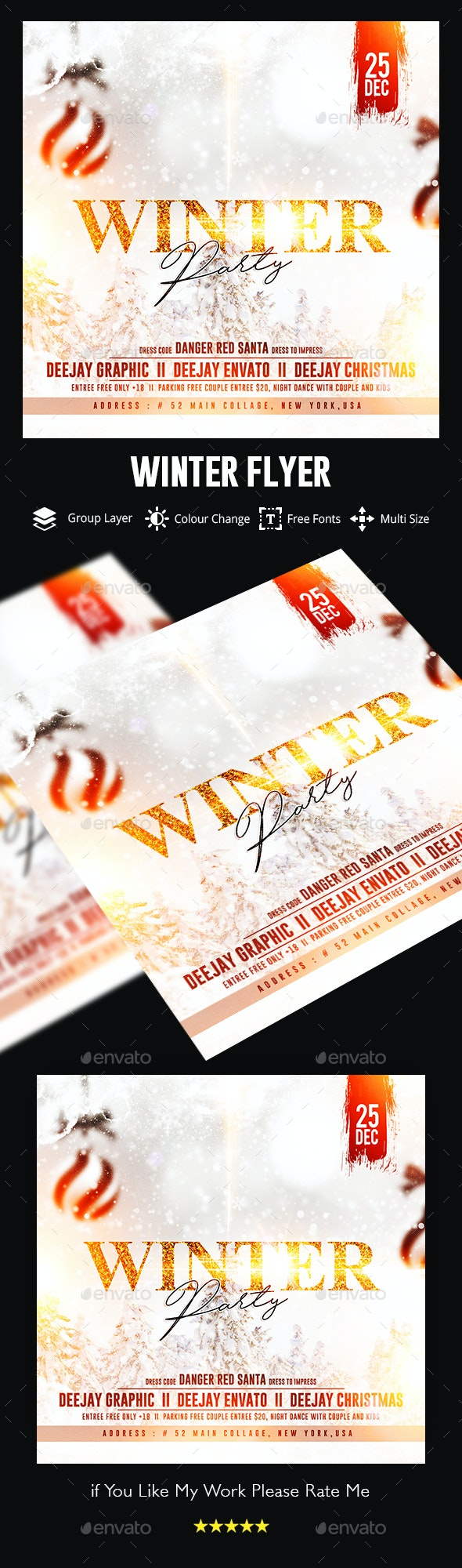 Winter Flyer Template - Clubs & Parties Events