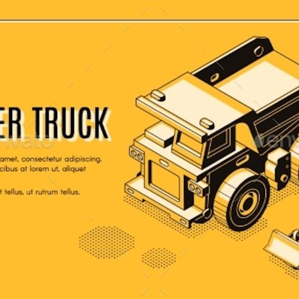 Dumper Truck Isometric Vector Web Banner Template