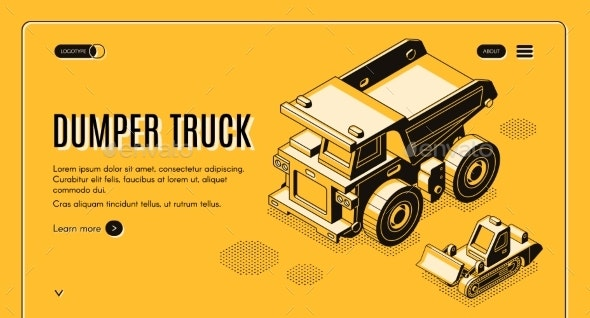 Dumper Truck Isometric Vector Web Banner Template - Miscellaneous Vectors