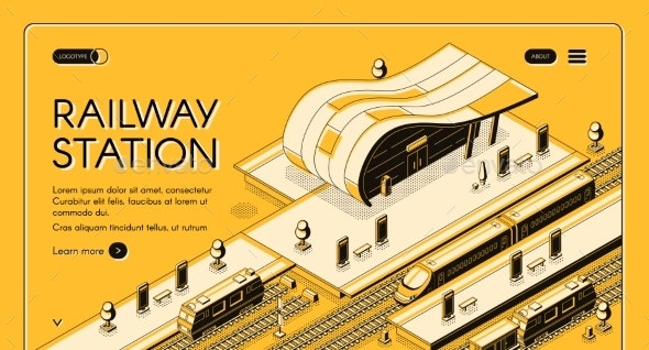 Modern Railway Station Isometric Vector Webpage - Travel Conceptual
