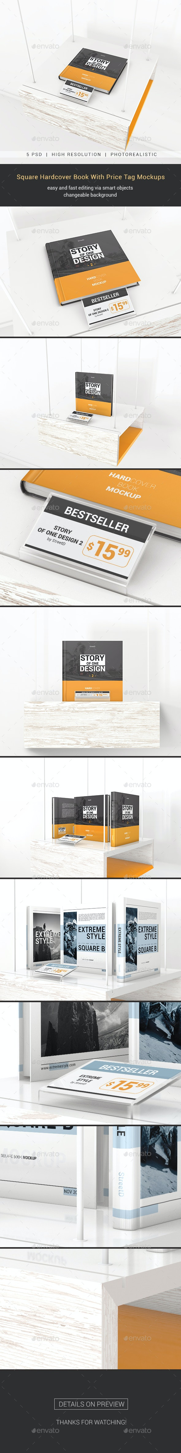 Square Hardcover Book With Price Tag Mockups - Books Print