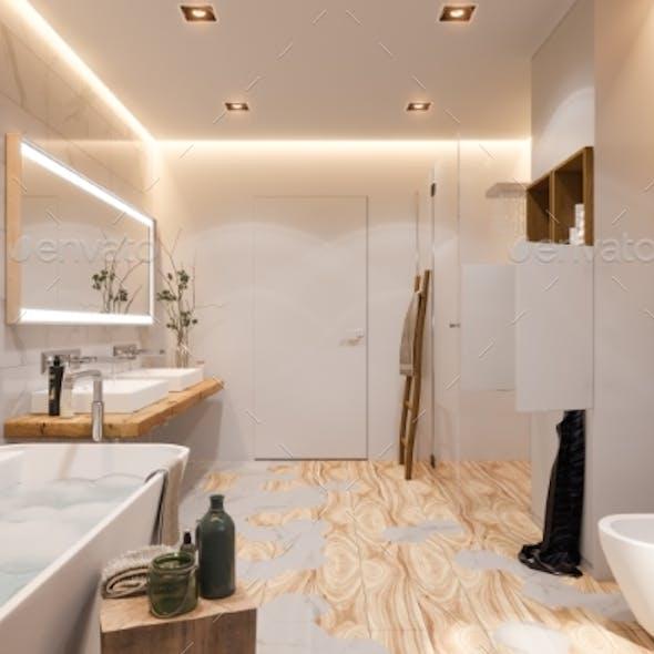 Interior Design of a Bathroom, 3d Illustration in