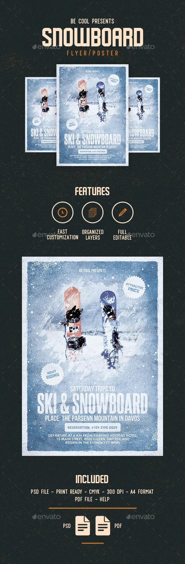 Ski & Snowboard Flyer/Poster - Sports Events